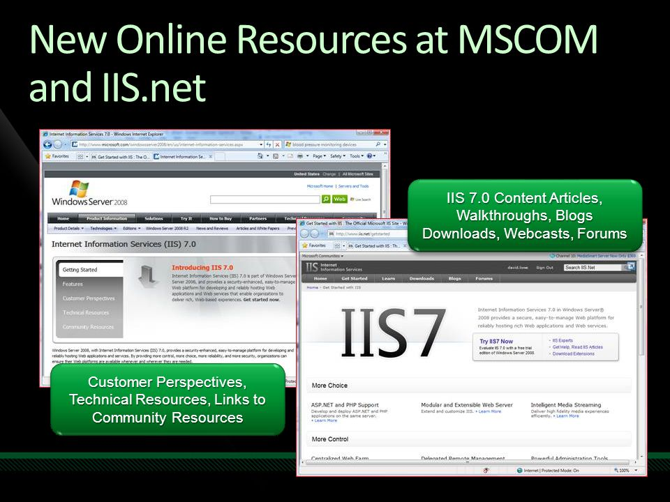 New Online Resources at MSCOM and IIS.net