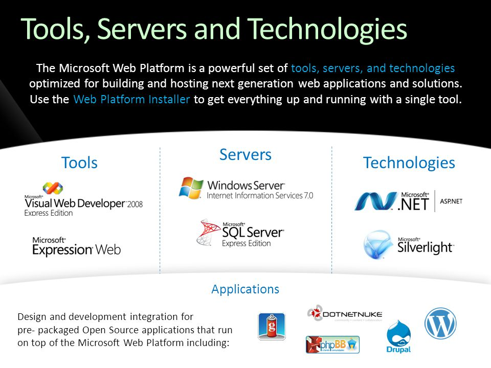 Tools, Servers and Technologies