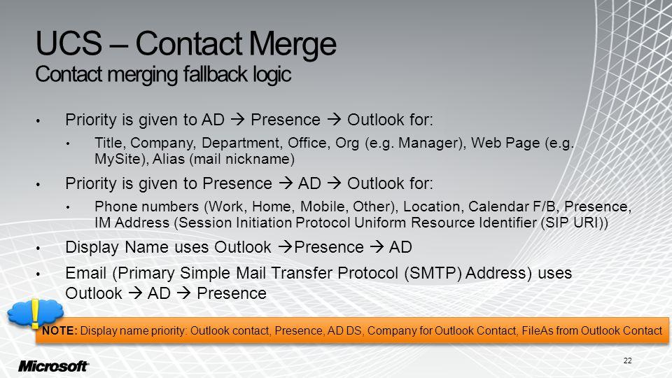 UCS – Contact Merge Contact merging fallback logic
