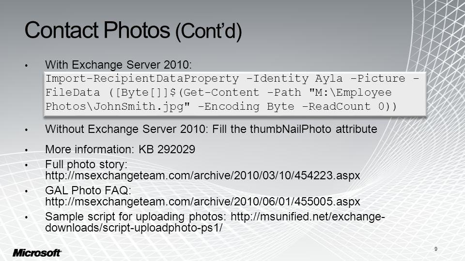 Contact Photos (Cont'd)
