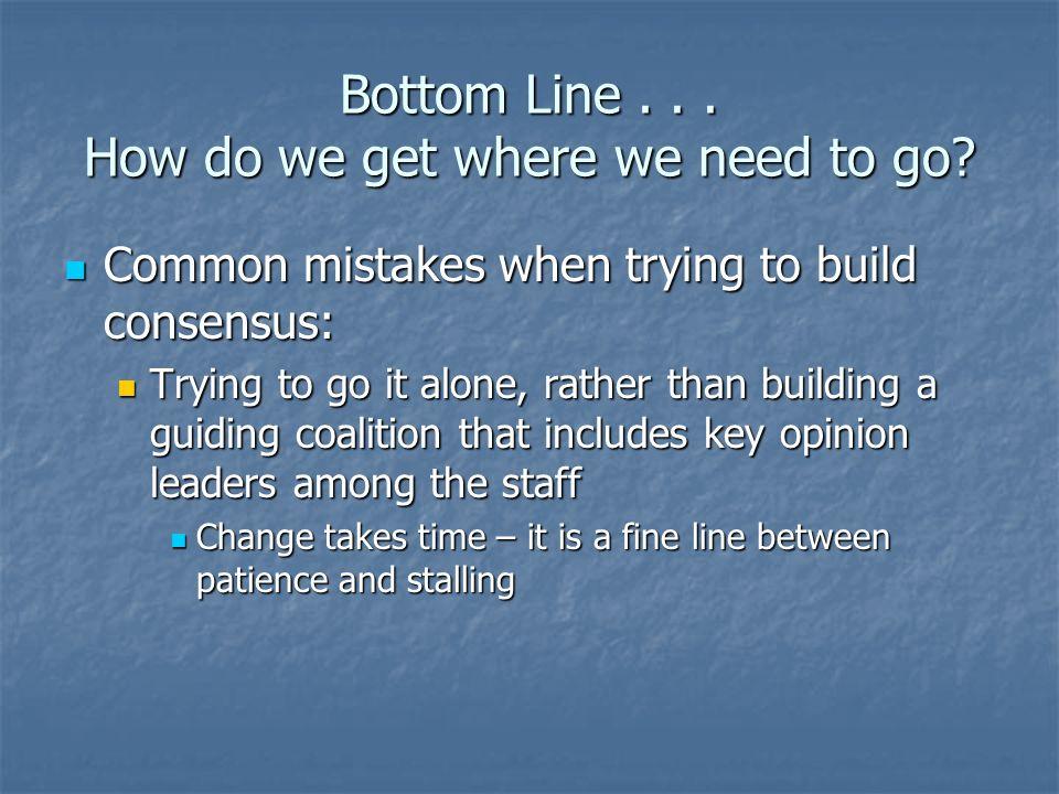 Bottom Line . . . How do we get where we need to go