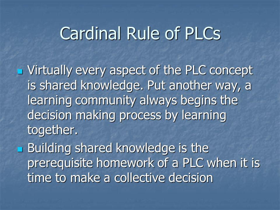 Cardinal Rule of PLCs