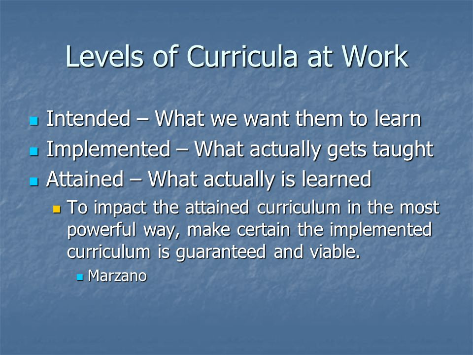 Levels of Curricula at Work