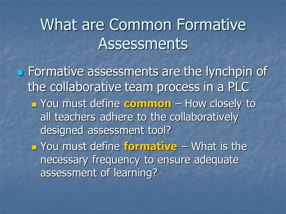 What are Common Formative Assessments