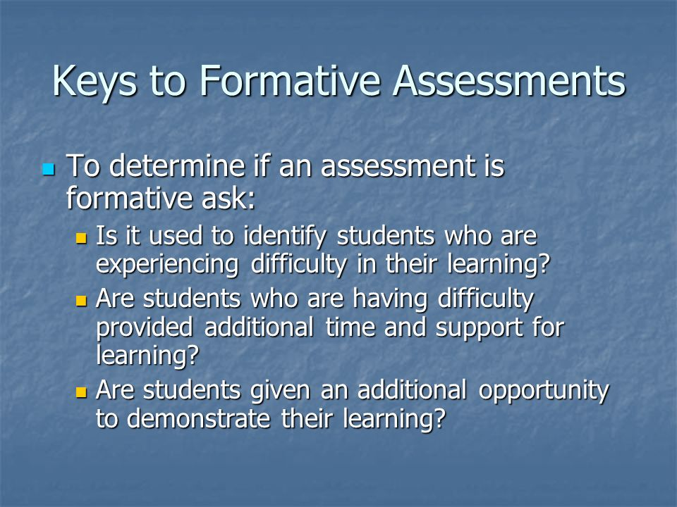 Keys to Formative Assessments