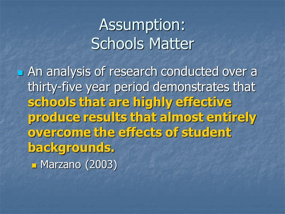 Assumption: Schools Matter