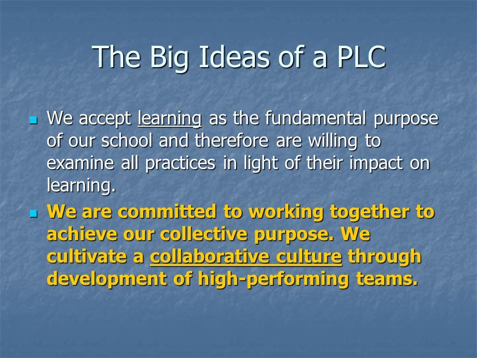 The Big Ideas of a PLC