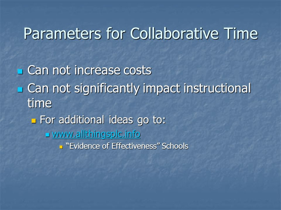 Parameters for Collaborative Time