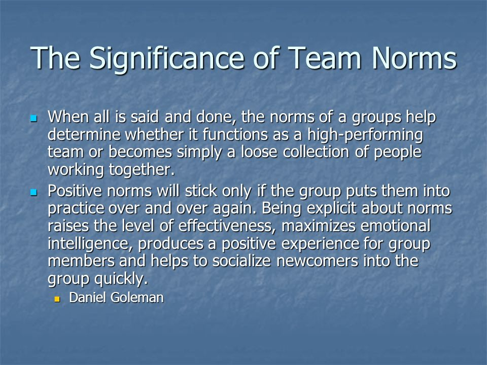 The Significance of Team Norms