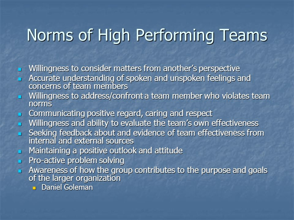 Norms of High Performing Teams
