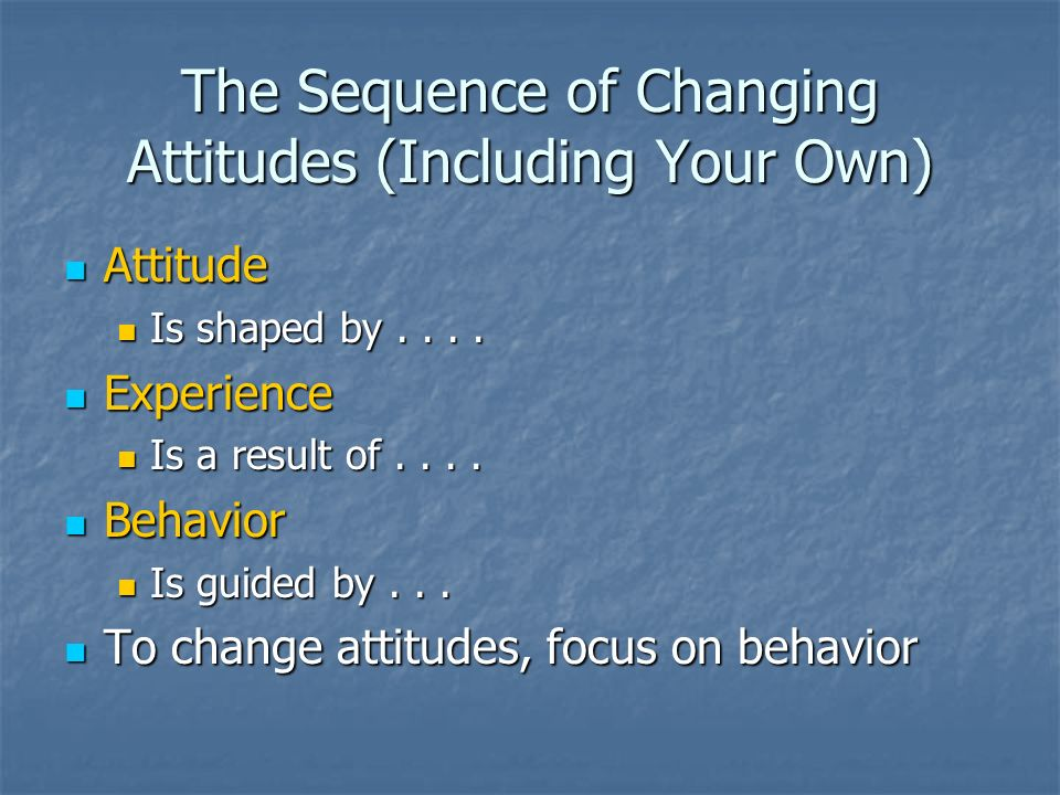 The Sequence of Changing Attitudes (Including Your Own)