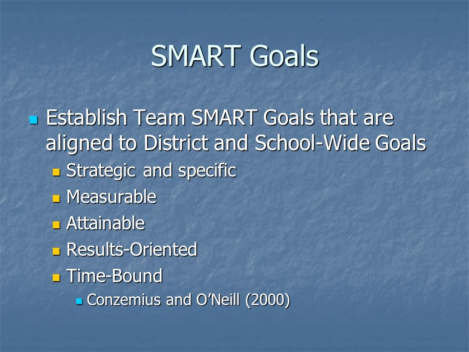 SMART Goals Establish Team SMART Goals that are aligned to District and School-Wide Goals. Strategic and specific.