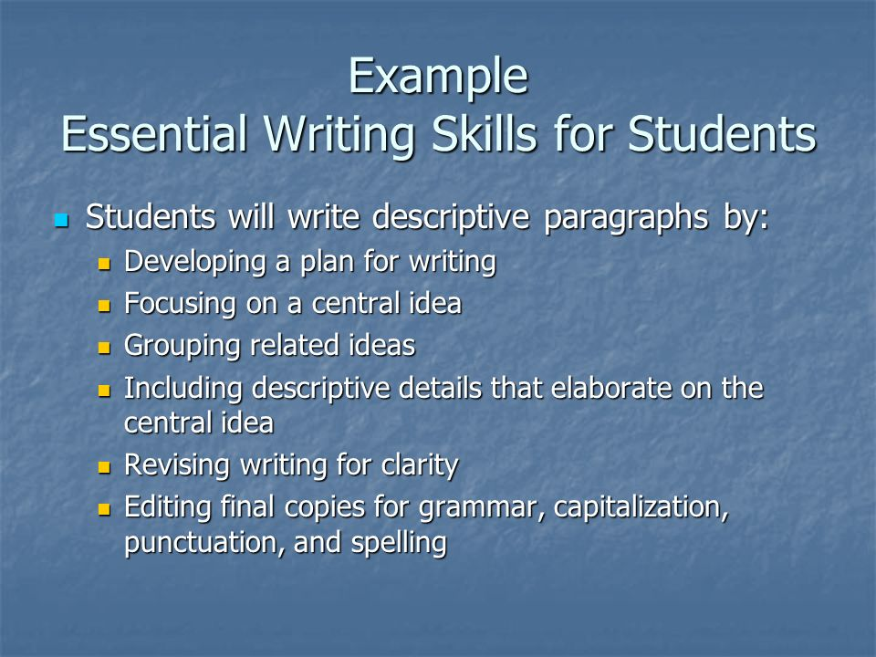 Example Essential Writing Skills for Students