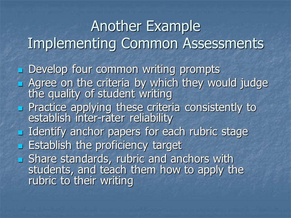 Another Example Implementing Common Assessments