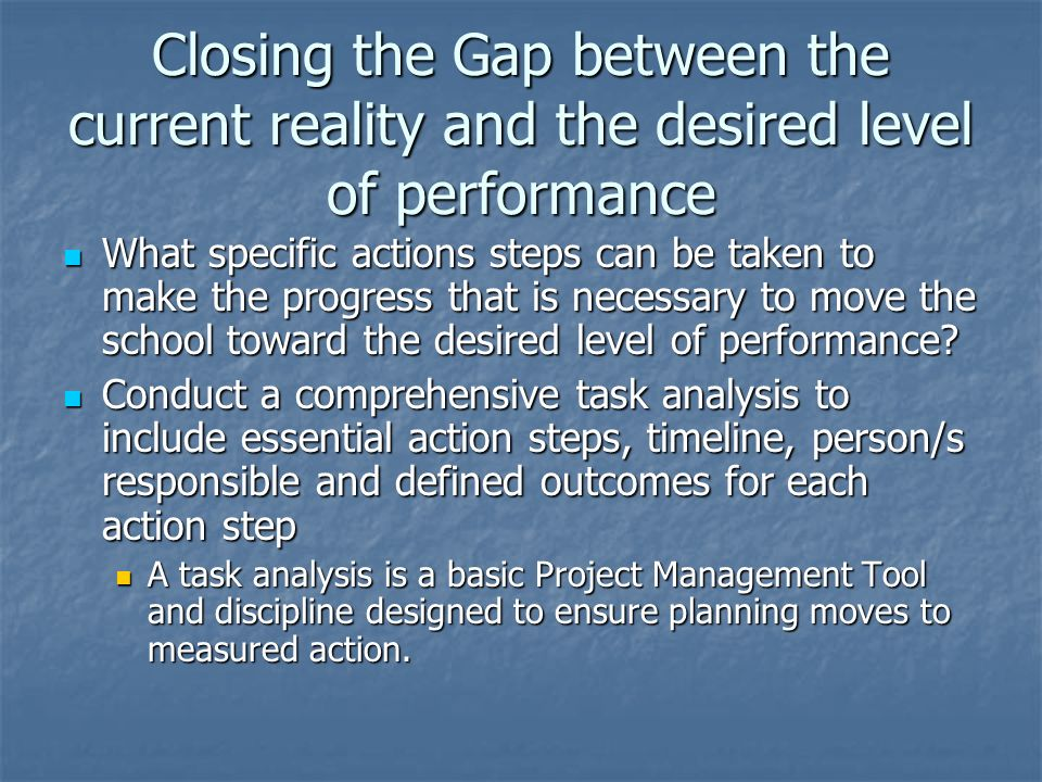 Closing the Gap between the current reality and the desired level of performance