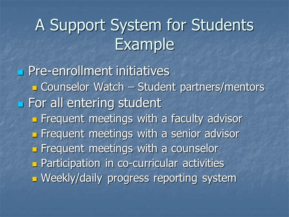 A Support System for Students Example