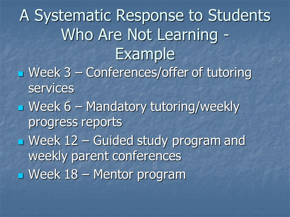 A Systematic Response to Students Who Are Not Learning - Example