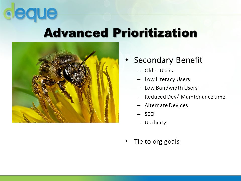 Advanced Prioritization