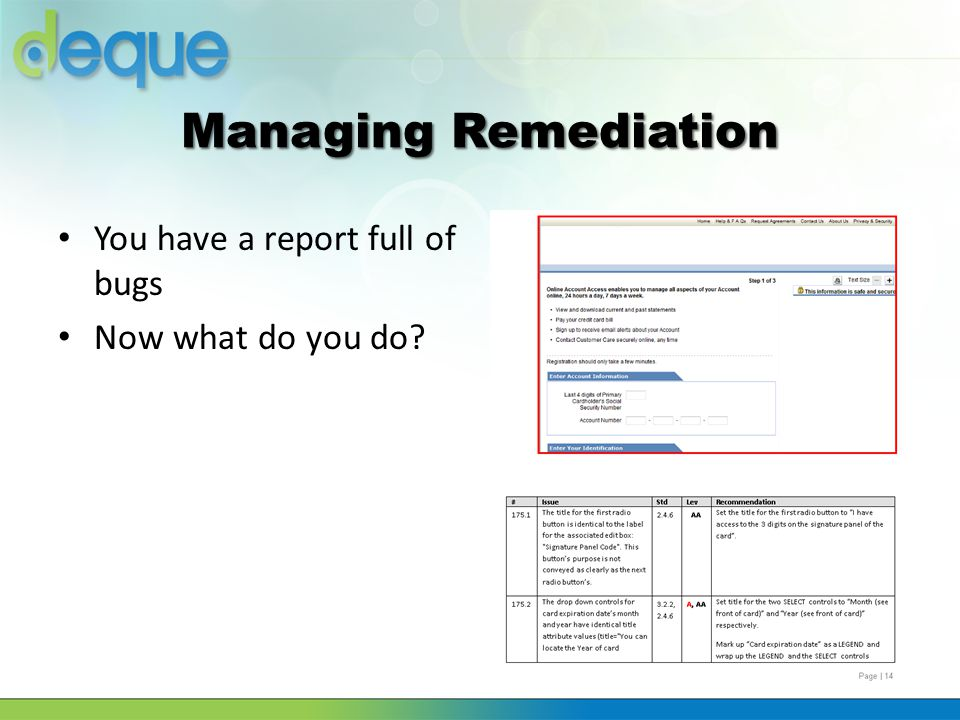 Managing Remediation You have a report full of bugs