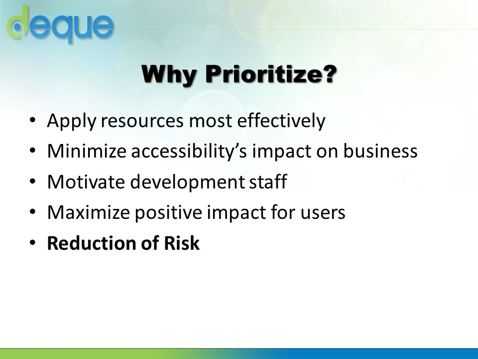 Why Prioritize Apply resources most effectively