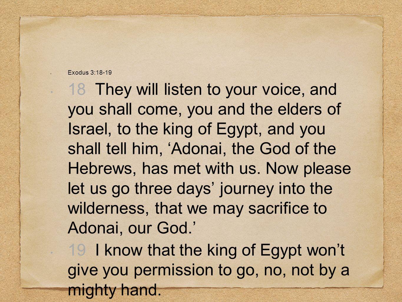 Exodus 3:18-19