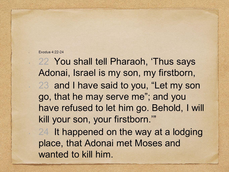 Exodus 4:22-2422 You shall tell Pharaoh, 'Thus says Adonai, Israel is my son, my firstborn,