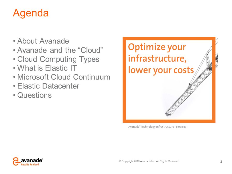 Agenda About Avanade Avanade and the Cloud Cloud Computing Types