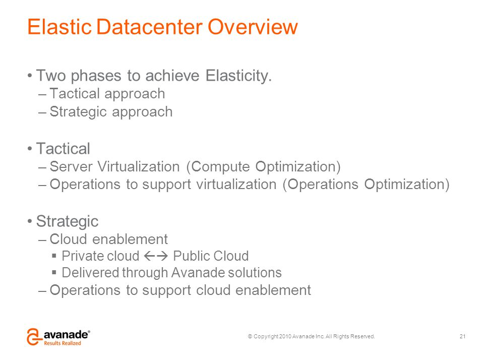 Elastic Datacenter Overview