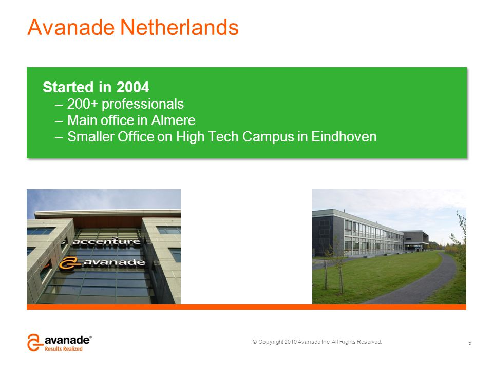 Avanade Netherlands Started in 2004 200+ professionals