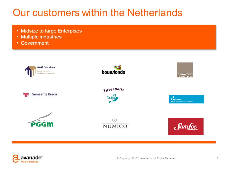 Our customers within the Netherlands