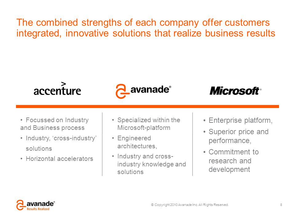 The combined strengths of each company offer customers integrated, innovative solutions that realize business results