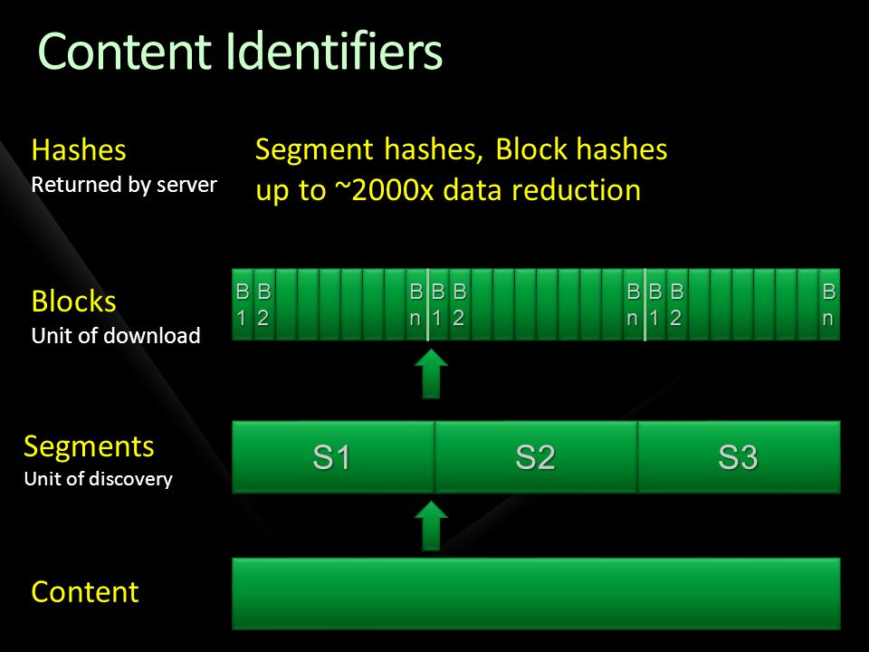 Content Identifiers Hashes Segment hashes, Block hashes