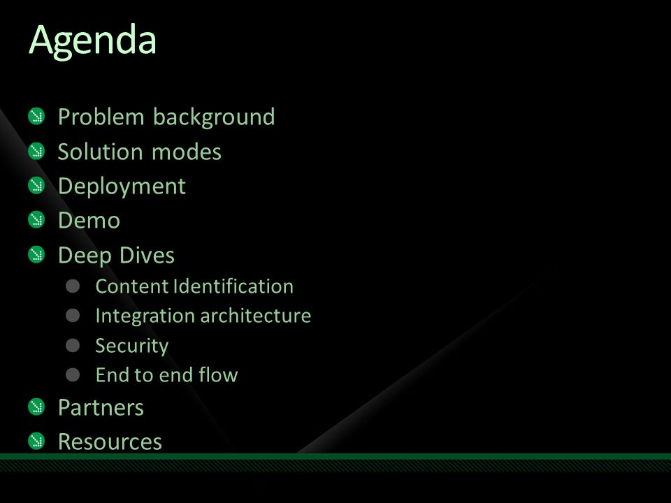 Agenda Problem background Solution modes Deployment Demo Deep Dives