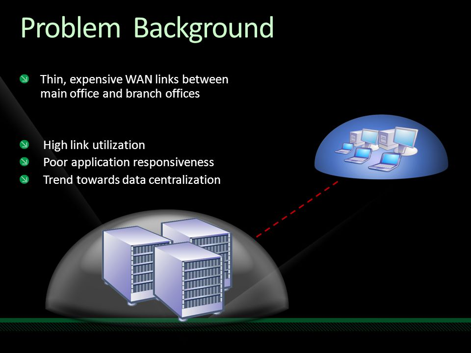 Problem Background Thin, expensive WAN links between main office and branch offices. High link utilization.