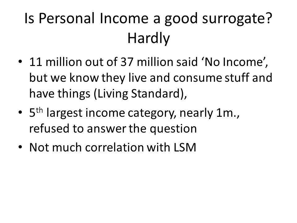 Is Personal Income a good surrogate Hardly