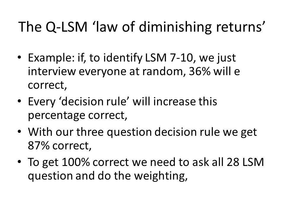The Q-LSM 'law of diminishing returns'