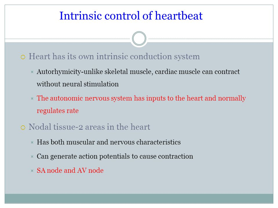 Intrinsic control of heartbeat