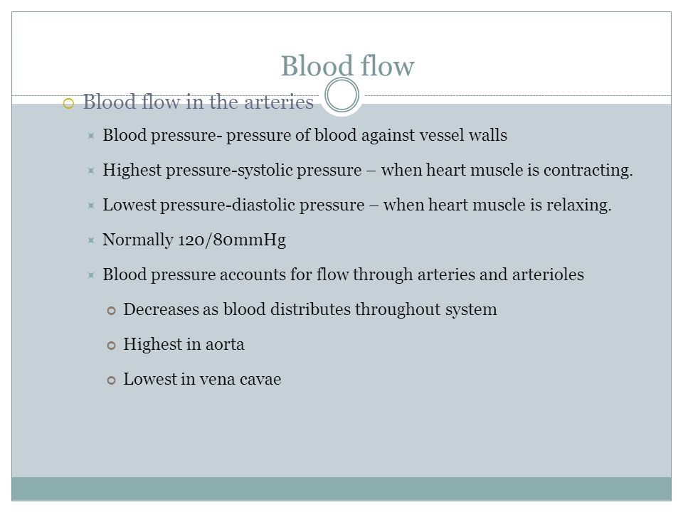 Blood flow Blood flow in the arteries