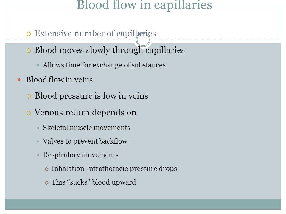 Blood flow in capillaries