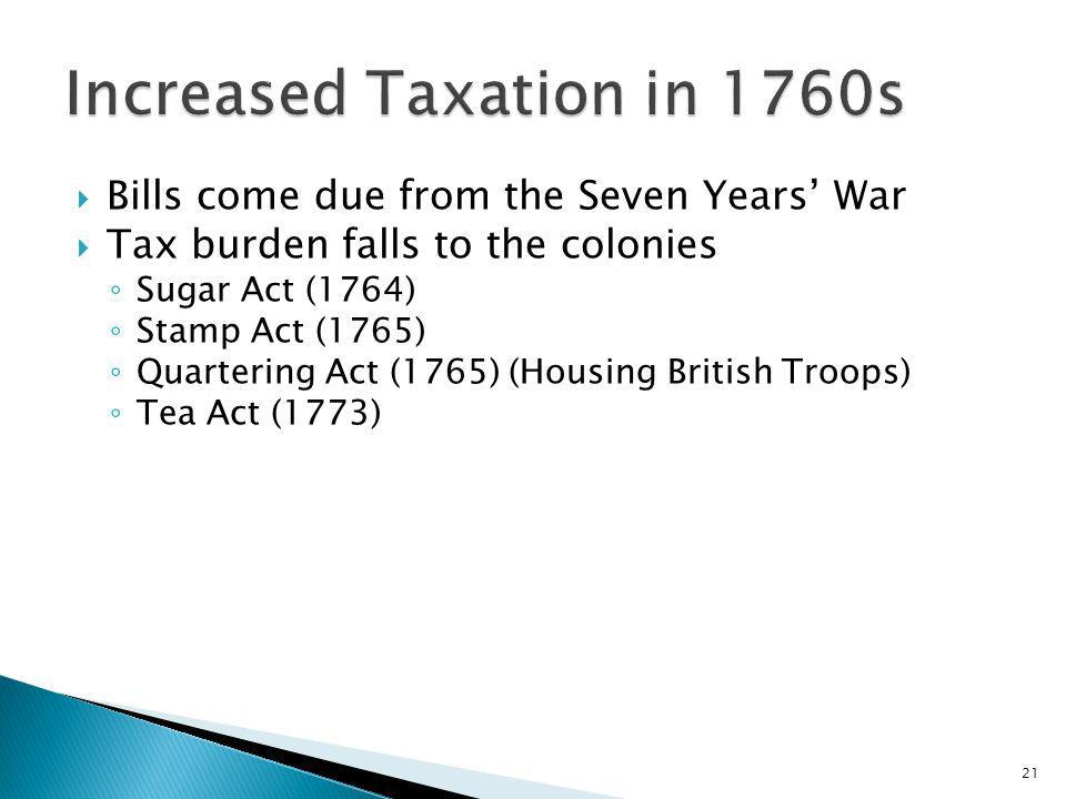 Increased Taxation in 1760s
