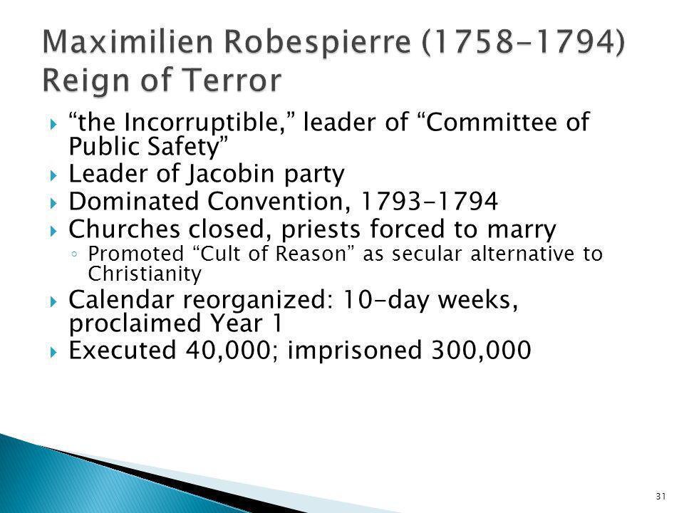 Maximilien Robespierre (1758-1794) Reign of Terror