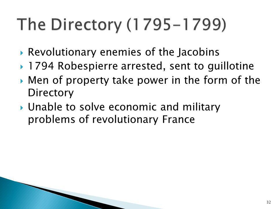 The Directory (1795-1799) Revolutionary enemies of the Jacobins