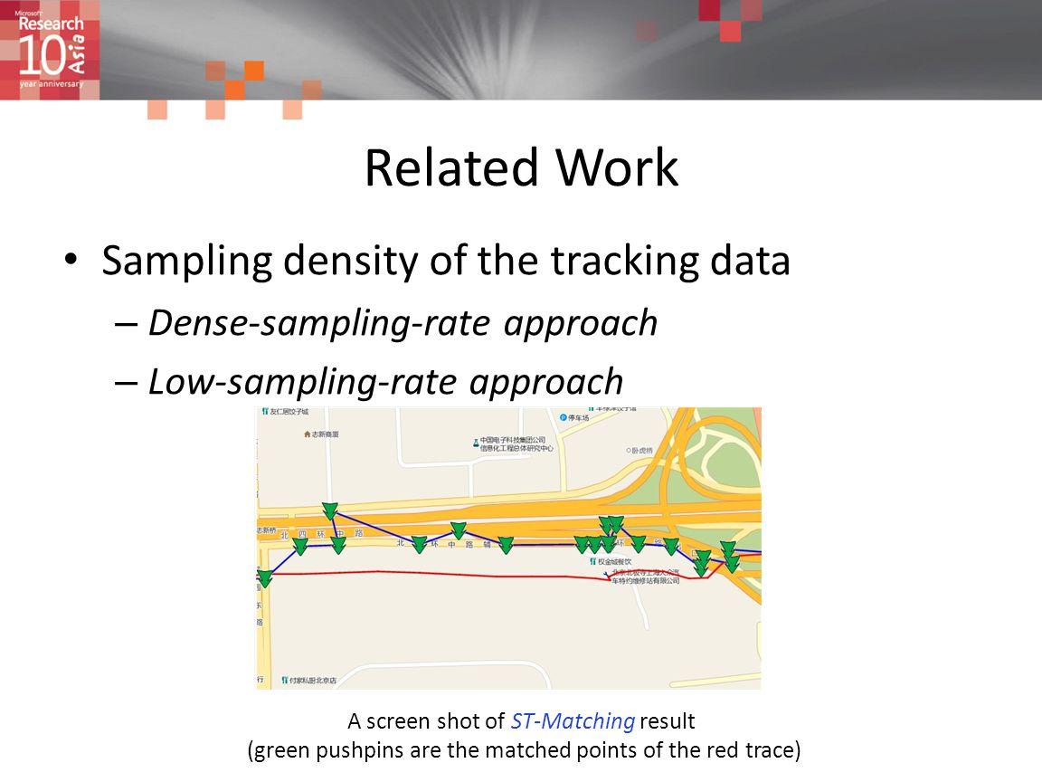 Related Work Sampling density of the tracking data