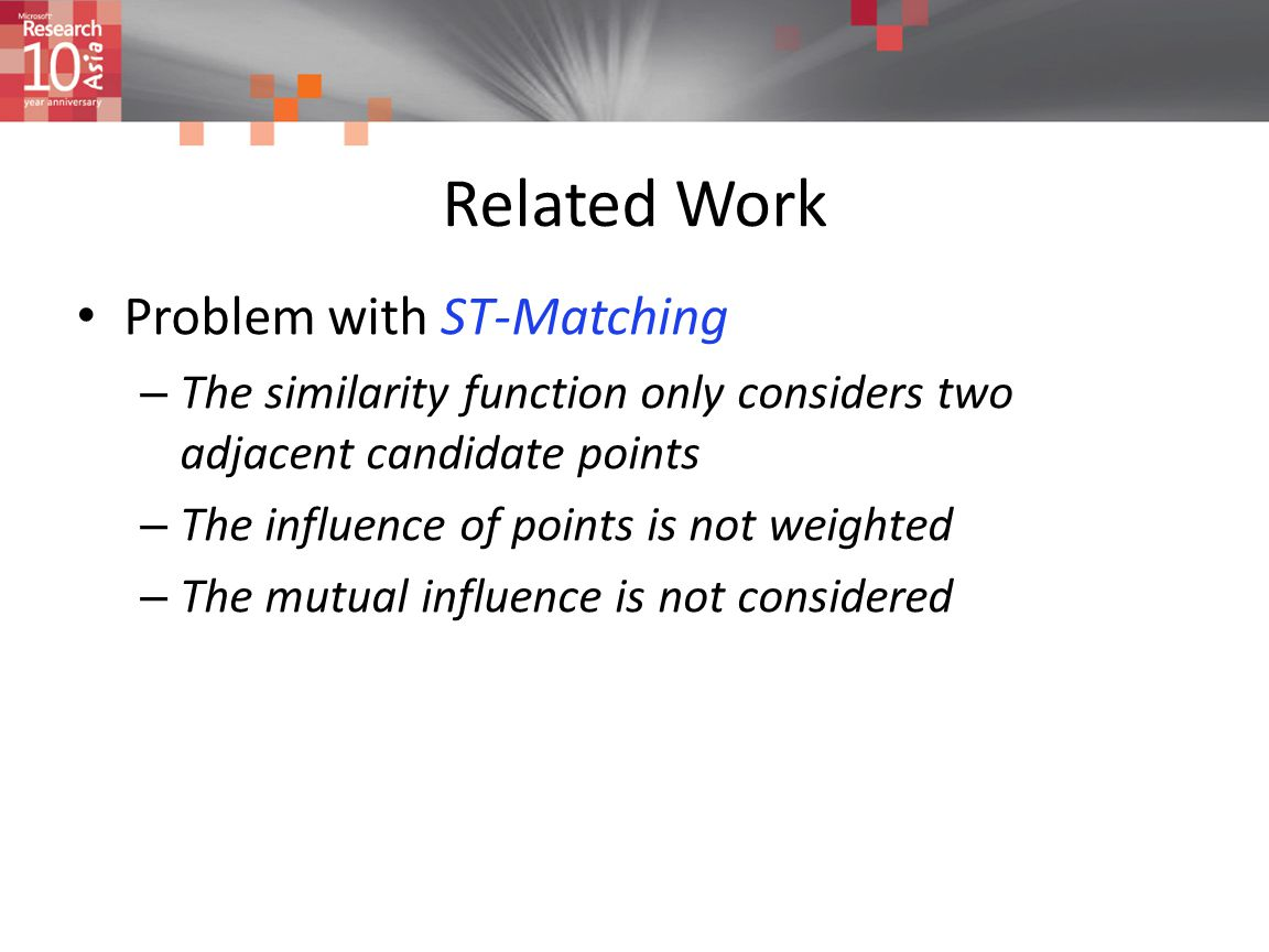 Related Work Problem with ST-Matching