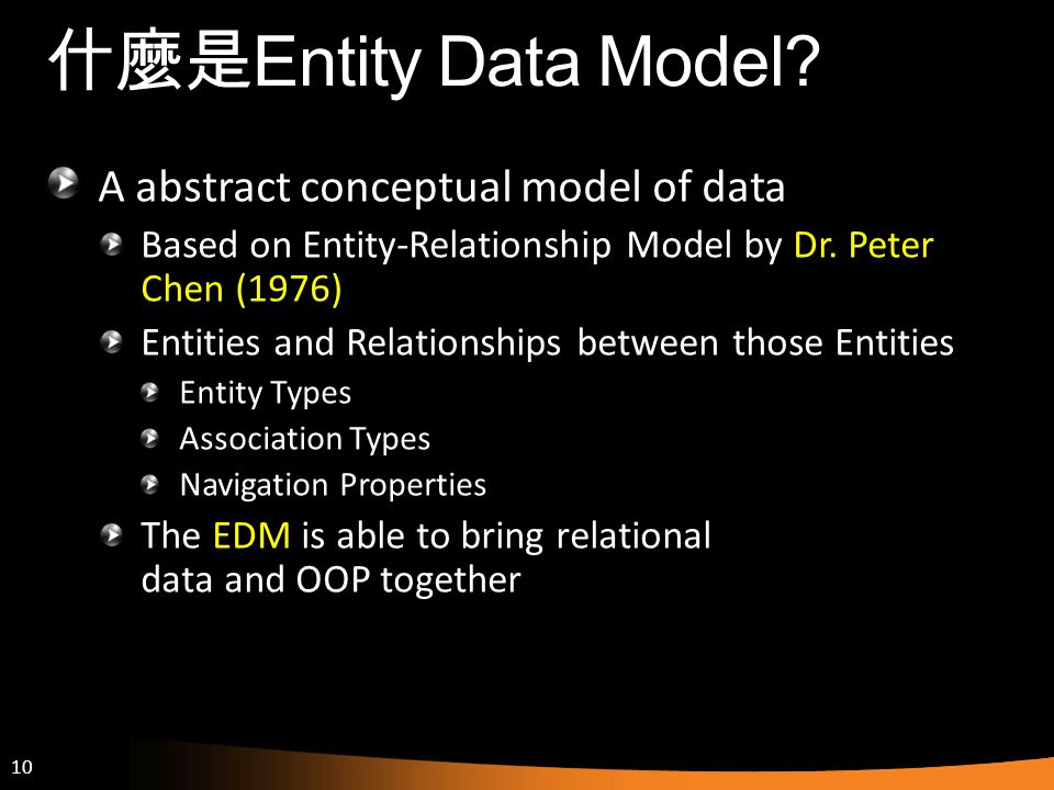 什麼是Entity Data Model A abstract conceptual model of data
