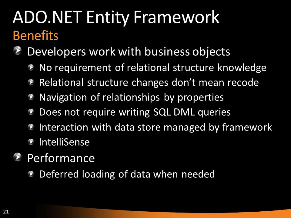 ADO.NET Entity Framework Benefits