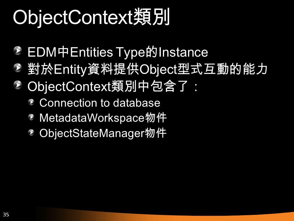 ObjectContext類別 EDM中Entities Type的Instance 對於Entity資料提供Object型式互動的能力