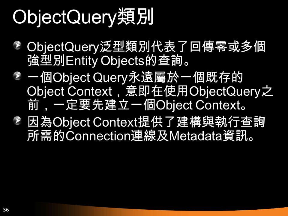 ObjectQuery類別 ObjectQuery泛型類別代表了回傳零或多個強型別Entity Objects的查詢。