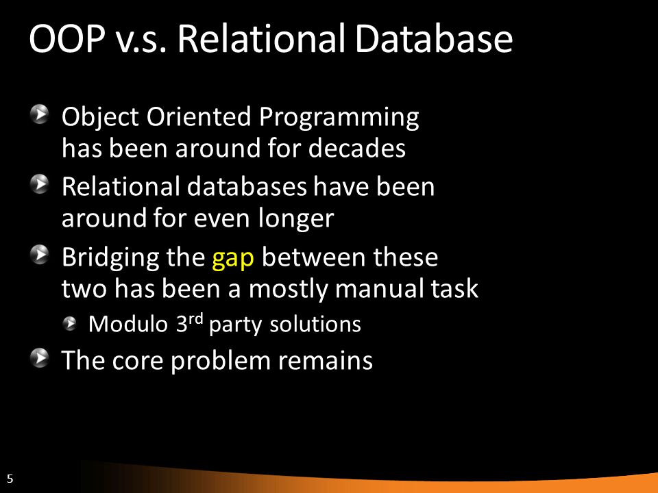 OOP v.s. Relational Database