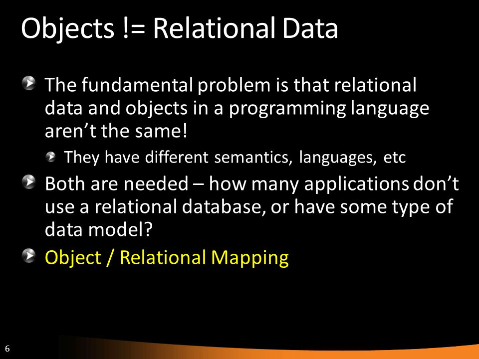 Objects != Relational Data